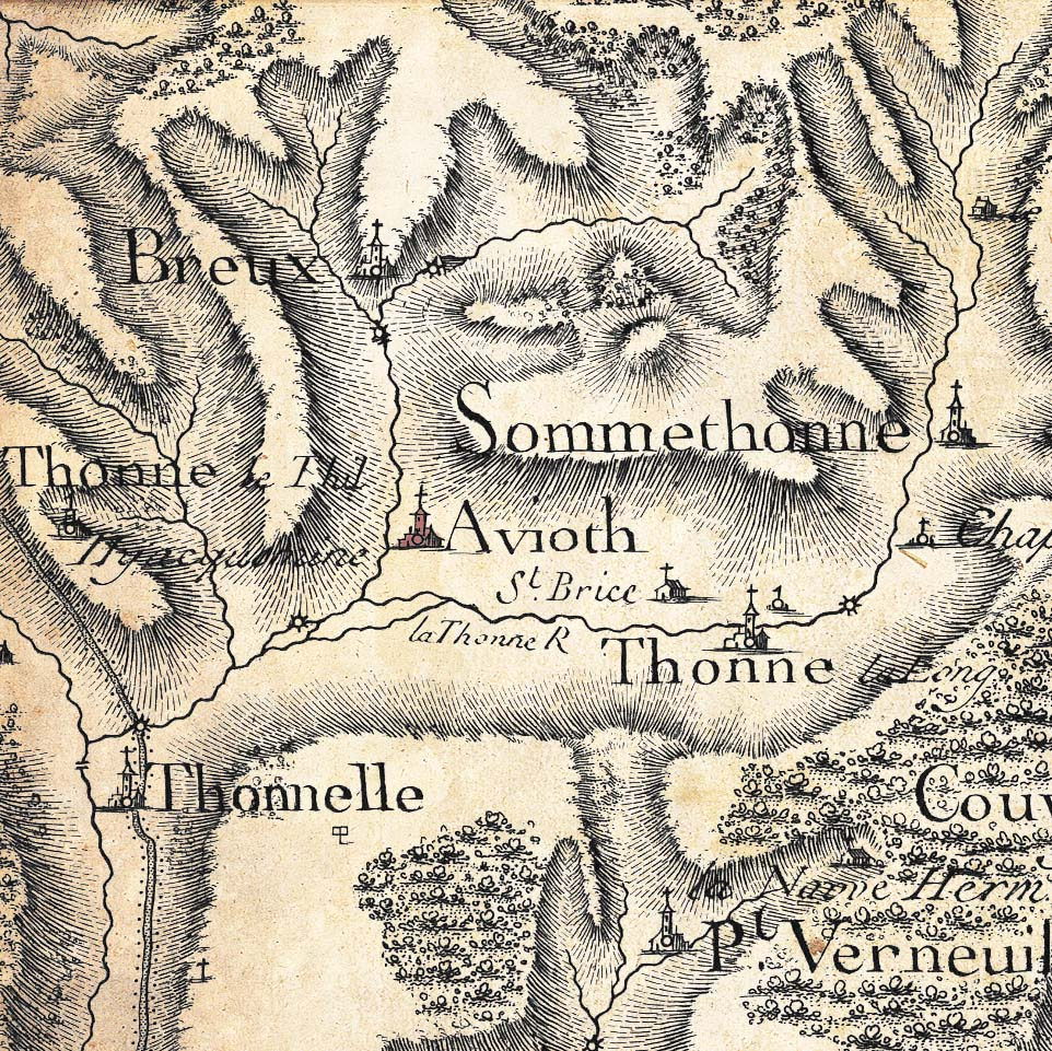 Avioth has been mentioned since the 12th century. Here is the map of Cassini (18th century) showing Avioth and its surroundings.