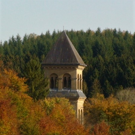 The bell tower of the abbey church of Orval, a few kilometers from the Basilica of Avioth, rises above the forest.