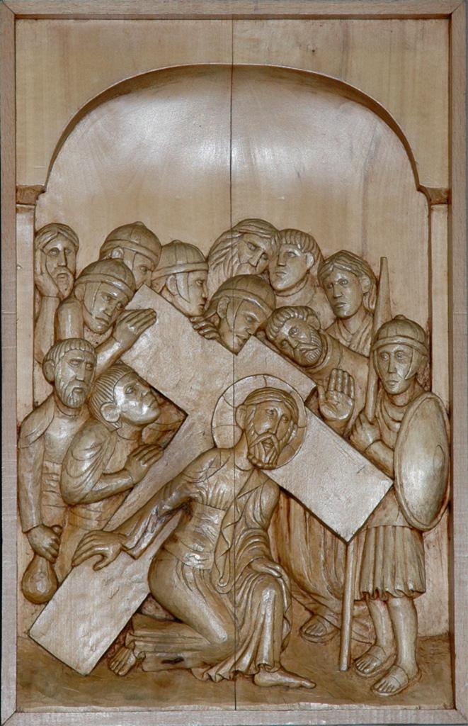 Deuxième station : Jésus reçoit sa Croix. Gravure sur bois, église Notre-Dame du Travail, Paris.