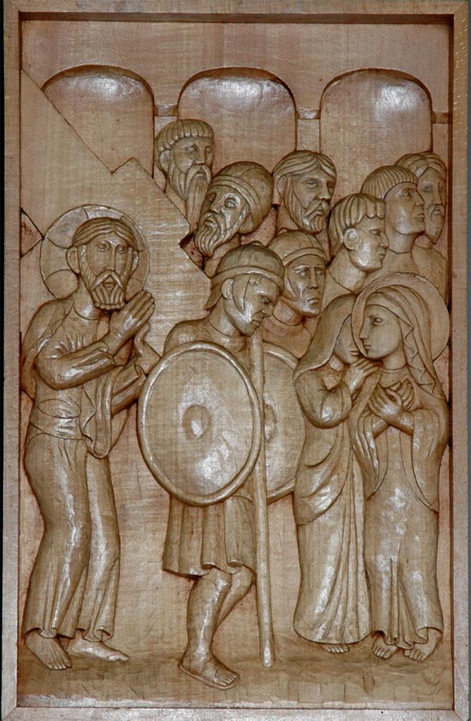 Quatrième station : Jésus rencontre sa Mère affligée. Gravure sur bois, église Notre-Dame du Travail, Paris.