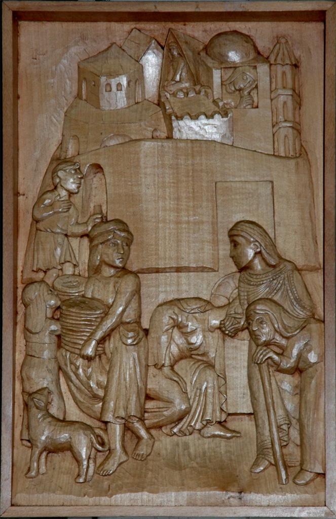 Septième station : Jésus tombe pour la deuxième fois. Gravure sur bois, église Notre-Dame du Travail, Paris.