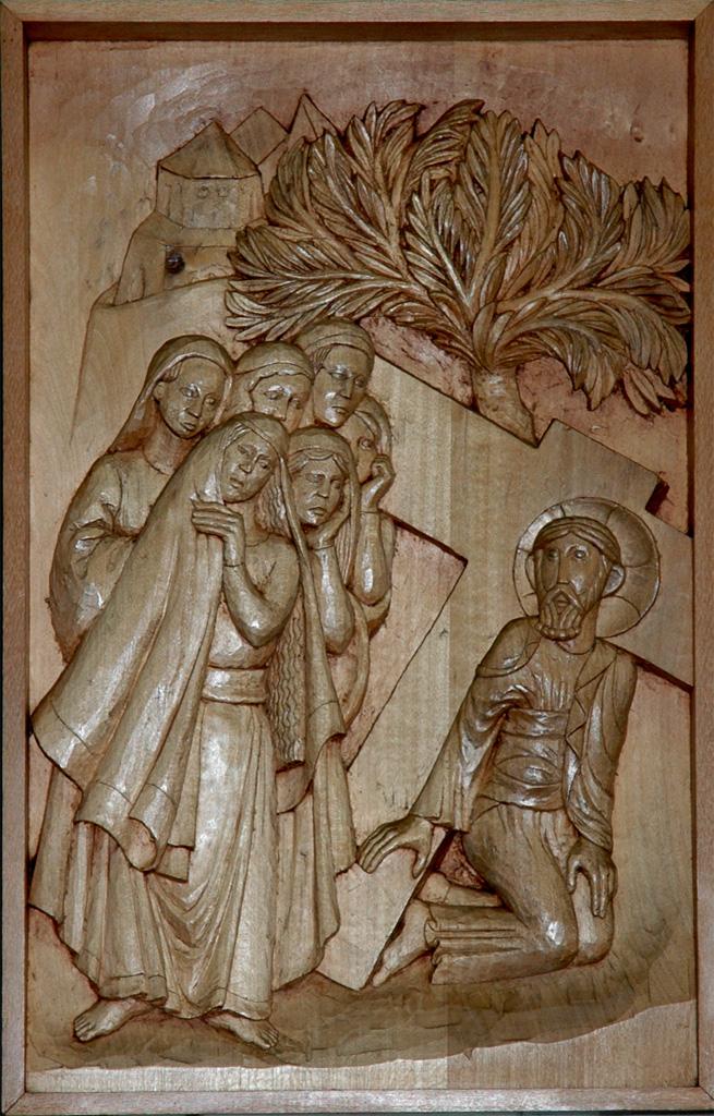 Huitième station : Jésus console les femmes de Jérusalem. Gravure sur bois, église Notre-Dame du Travail, Paris.