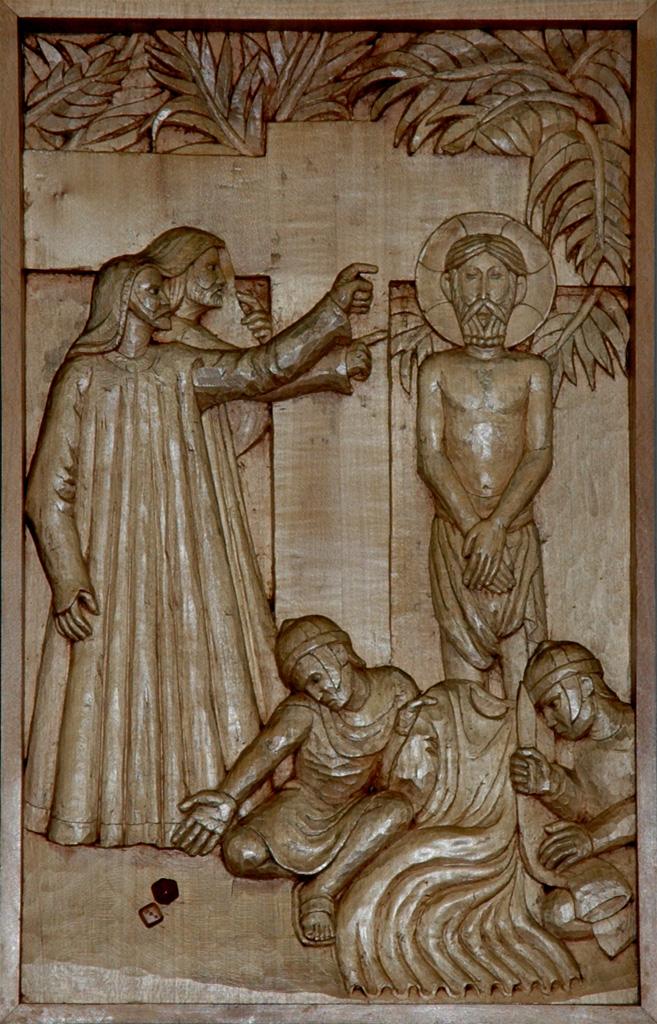 Dixième station : Jésus est dépouillé de ses vêtements. Gravure sur bois, église Notre-Dame du Travail, Paris.