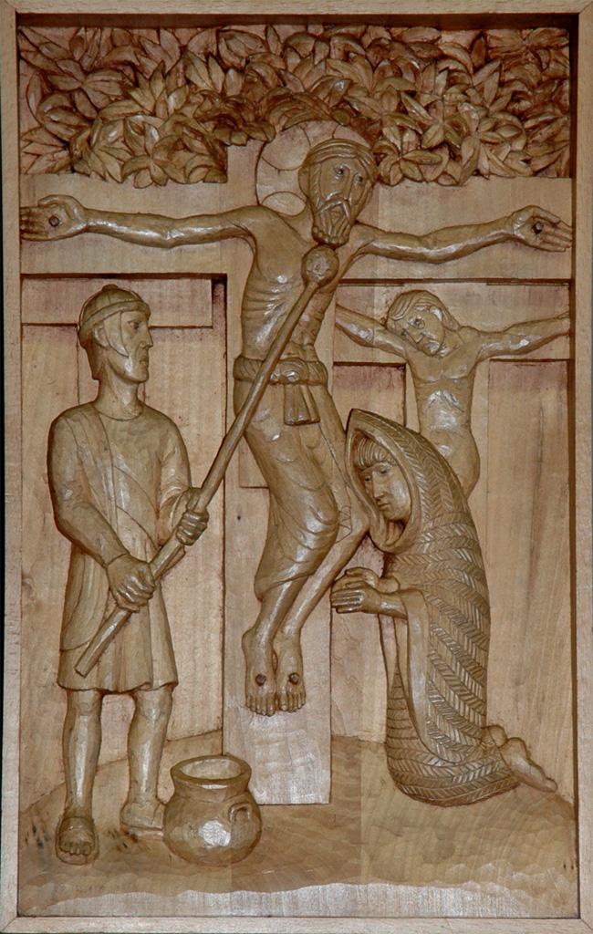 Onzième station : Jésus est cloué à la Croix. Gravure sur bois, église Notre-Dame du Travail, Paris.
