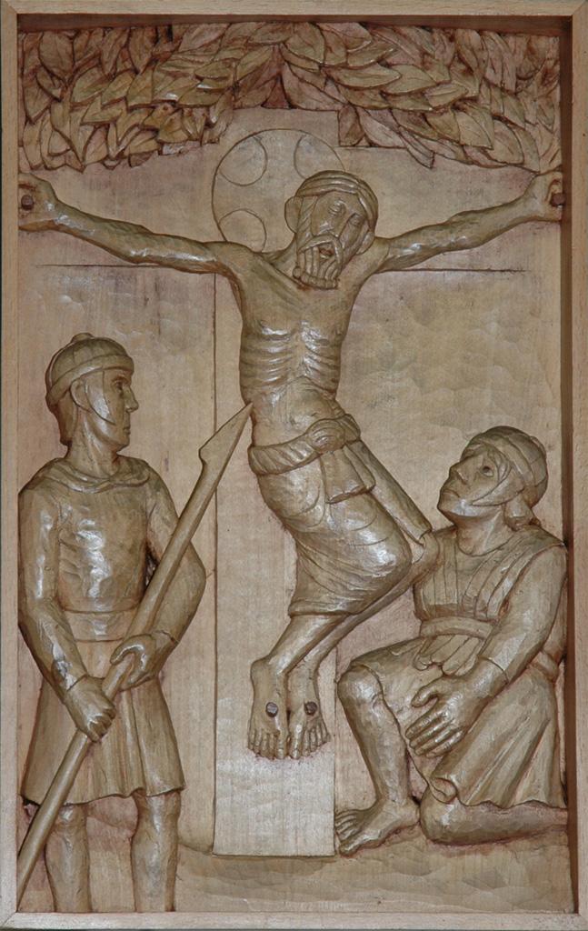 Douzième station : Jésus meurt sur la croix. Gravure sur bois, église Notre-Dame du Travail, Paris.