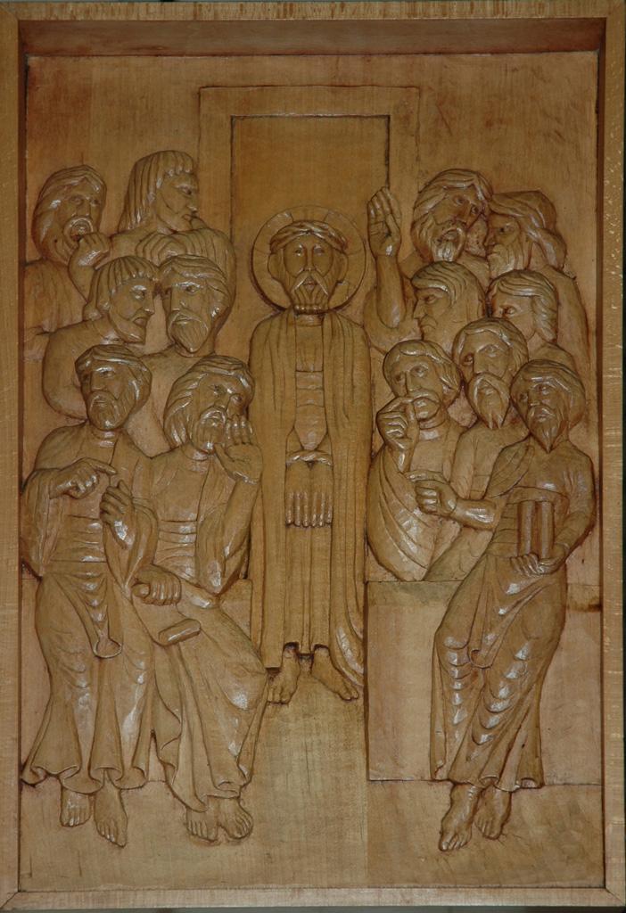 Première station : Jésus est condamné à mort. Gravure sur bois, église Notre-Dame du Travail, Paris.